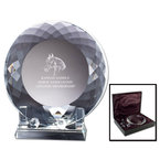 Optical Crystal Horse Show Plate Award w/ Stand