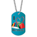 Full Color I Heart Reading Dog Tag