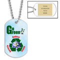 Personalized Go Green Dog Tag w/ Engraved Plate