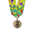 CX School Award Medal w/ Multicolor Neck Ribbon