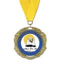 XBX Full Color School Award Medal w/ Grosgrain Neck Ribbon