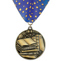 Stock WC Winner's Circle School Award Medal w/ Full Color Millennium Neck Ribbon