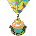 Stock Superstar Birthday School Award Medal w/ Full Color Millennium Celebrate Neck Ribbon