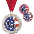 GEM Full Color School Award Medal w/ Grosgrain Neck Ribbon