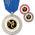 GEM Full Color School Award Medal w/ Satin Neck Ribbon