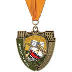 MS14 Mega Shield School Award Medals w/ Grosgrain Neck Ribbon