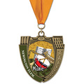 MS Mega Shield Award Medals w/ Grosgrain Neck Ribbon
