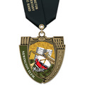 MS Mega Shield School Medals w/ Satin Neck Ribbon