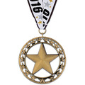 Rising Star School Award Medal with Red/White/Blue or Year Grosgrain Neck Ribbon
