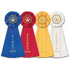 Stock Paw Print Rosette Award Ribbon