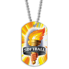Full Color Softball Torch Dog Tag