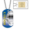 Personalized Hockey Helmet Dog Tags w/ Engraved Plate