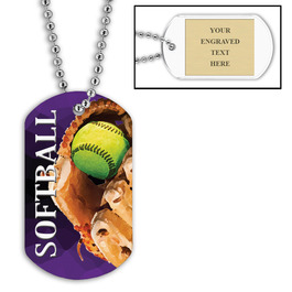 Personalized Softball Dog Tags w/ Engraved Plate