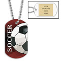 Personalized Soccer Ball Dog Tags w/ Engraved Plate