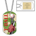Personalized T-Ball Dog Tags w/ Engraved Plate