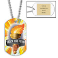 Personalized Track & Field Torch Dog Tags w/ Engraved Plate