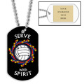 Personalized Volleyball Wreath Dog Tags w/ Engraved Plate