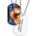 Personalized Baseball Dog Tag w/ Print on Back