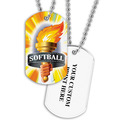 Personalized Softball Torch Dog Tags w/ Print on Back