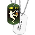Personalized Soccer Player Dog Tags w/ Print on Back