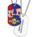 Personalized Wrestling Stance Dog Tags w/ Print on Back