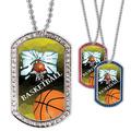 Full Color Basketball Hoop GEM Dog Tags
