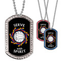 Full Color Volleyball Wreath GEM Dog Tags
