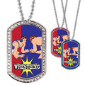 Full Color Wrestling Stance GEM Dog Tags