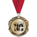XBX Metallic Sports Award Medal w/ Grosgrain Neck Ribbon