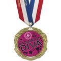 XBX Full Color Sports Award Medal w/ Specialty Satin Neck Ribbon
