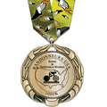 XBX Metallic Sports Award Medal w/ Multicolor Neck Ribbon