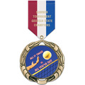XBX Full Color Sports Award Medal w/ Satin Drape Ribbon