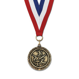 MX Sports Award Medal w/ Grosgrain Neck Ribbon