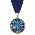LXC Color Fill Sports Award Medal w/ Grosgrain Neck Ribbon