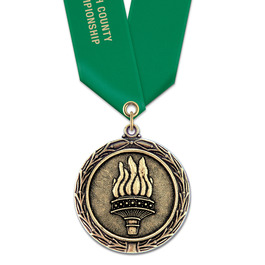 LX Sports Award Medal w/ Satin Neck Ribbon