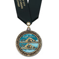 LXC Color Fill Sports Award Medal w/ Satin Neck Ribbon