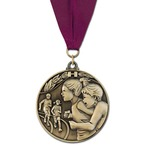 Winner's Circle Sports Medal w/ Any Grosgrain Neck Ribbon