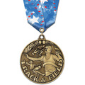 WC Winner's Circle Sports Award Medal w/ Multicolor Neck Ribbon