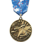 WC Winner's Circle Sports Award Medal w/ Spirit Multicolor Neck Ribbon