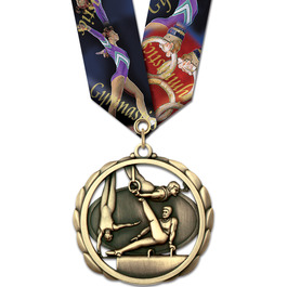 ES Sports Award Medal w/ Multicolor Neck Ribbon