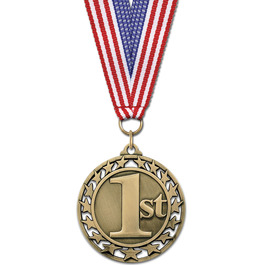Star Medal w/ Red/White/Blue or Flag Grosgrain Neck Ribbon