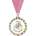 ST14 Star Full Color Sports Award Medal w/ Grosgrain Neck Ribbon