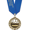 Star Sports Award Medal w/ Satin Neck Ribbon