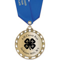 ST14 Star Metallic Sports Award Medal w/ Any Satin Neck Ribbon
