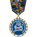 ST14 Star Full Color Sports Award Medal w/ Multicolor Neck Ribbon