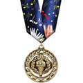 Star Sports Award Medal w/ Multicolor Neck Ribbon