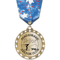 ST14 Star Metallic Sports Award Medal w/ Multicolor Neck Ribbon
