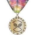 ST14 Star Metallic Sports Award Medal w/ Millennium Neck Ribbon