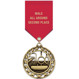 Star Sports Award Medal w/ Satin Drape Ribbon