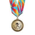 LFL Metallic Sports Award Medal w/ Multicolor Neck Ribbon